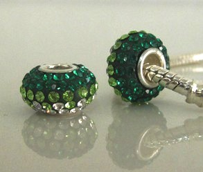 Charm 925 - 5 Row Graduated Crystals - Emerald, Lime & Clear