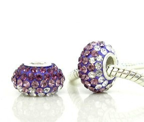 Charm 925 - 5 Row Graduated Crystals - Purple, Lavender & Clear