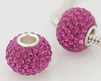 Charm 925 - 7 Row Round Crystal - Fuscia Pink