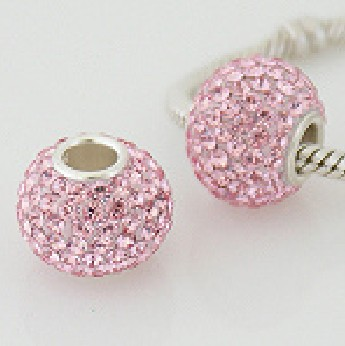 Charm 925 - 7 Row Round Crystal - Pink
