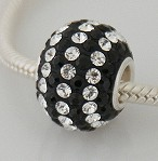 Charm 925 - 7 Row Round - Black & Clear Lines