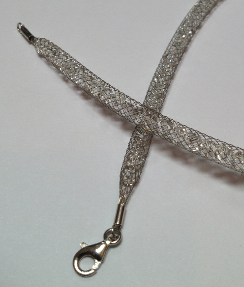 925 Mesh Crystal Lobster Necklace - Silver