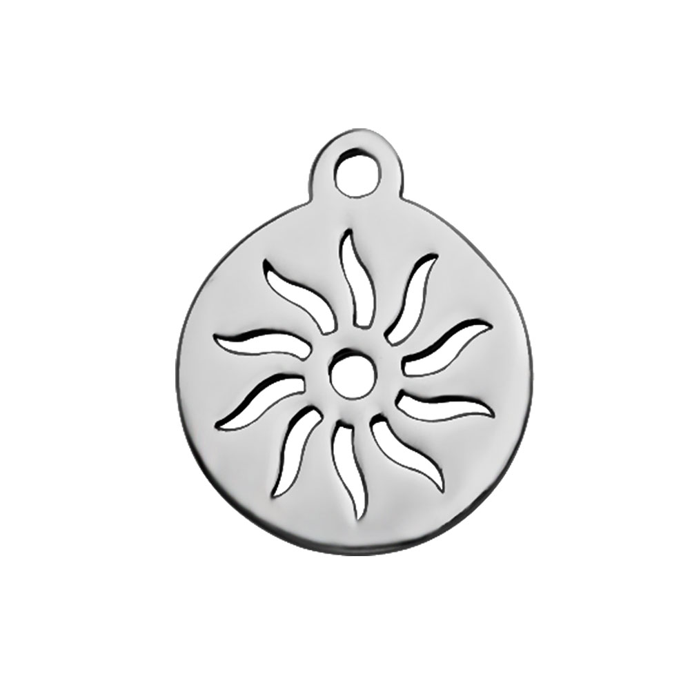 12*14mm Small Stainless Steel Charm - Sun