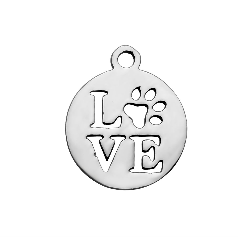 14*12mm Small Stainless Steel Charm - Paw Love
