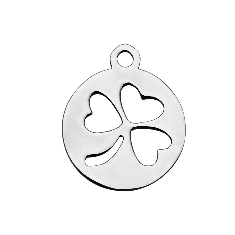 14*12mm Small Stainless Steel Charm - Three Leaf Clover Luck