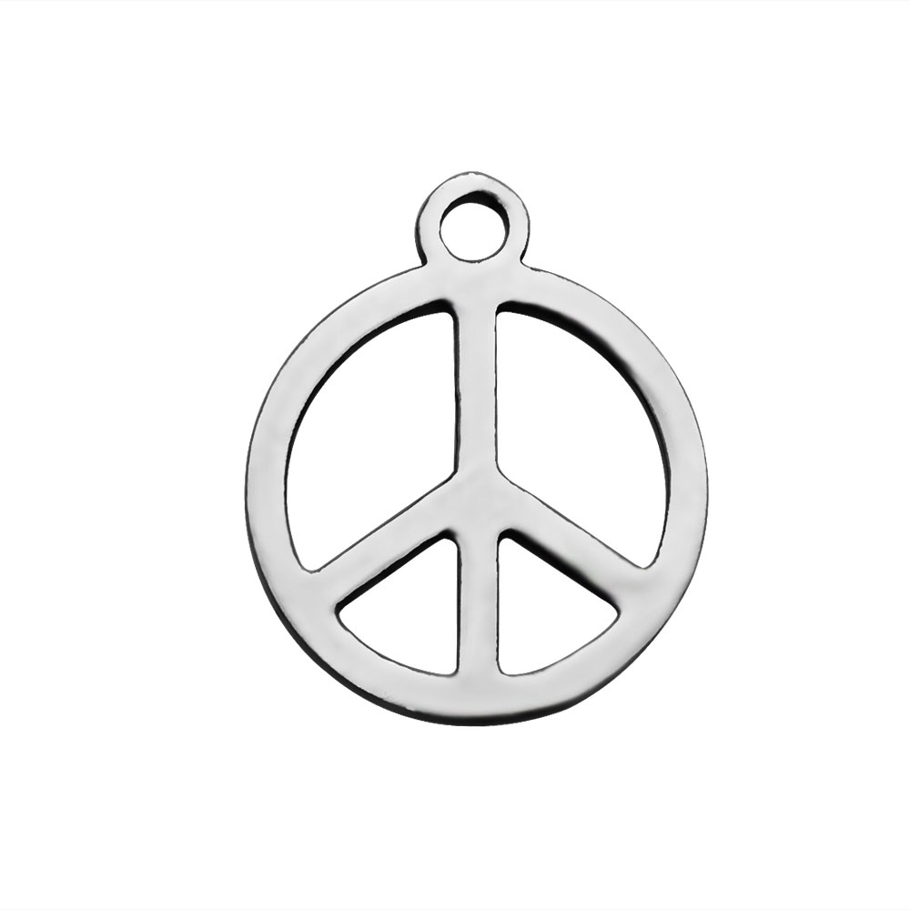 14*12mm Small Stainless Steel Charm - Peace Sign