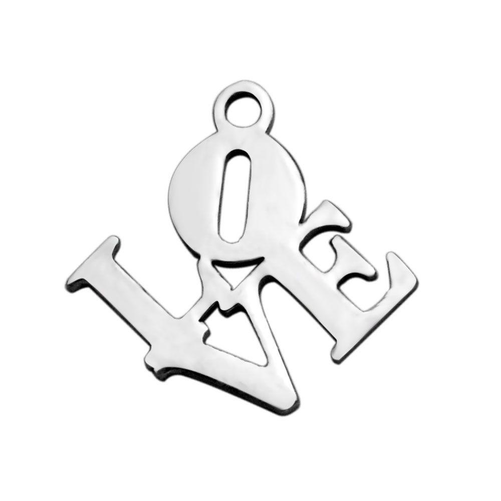 15.8*16.3mm Small Stainless Steel Charm - Tilted Square Love