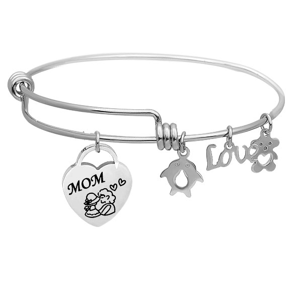 Stainless Expandable Wire Bangle 60mm - Mom Charm Medium