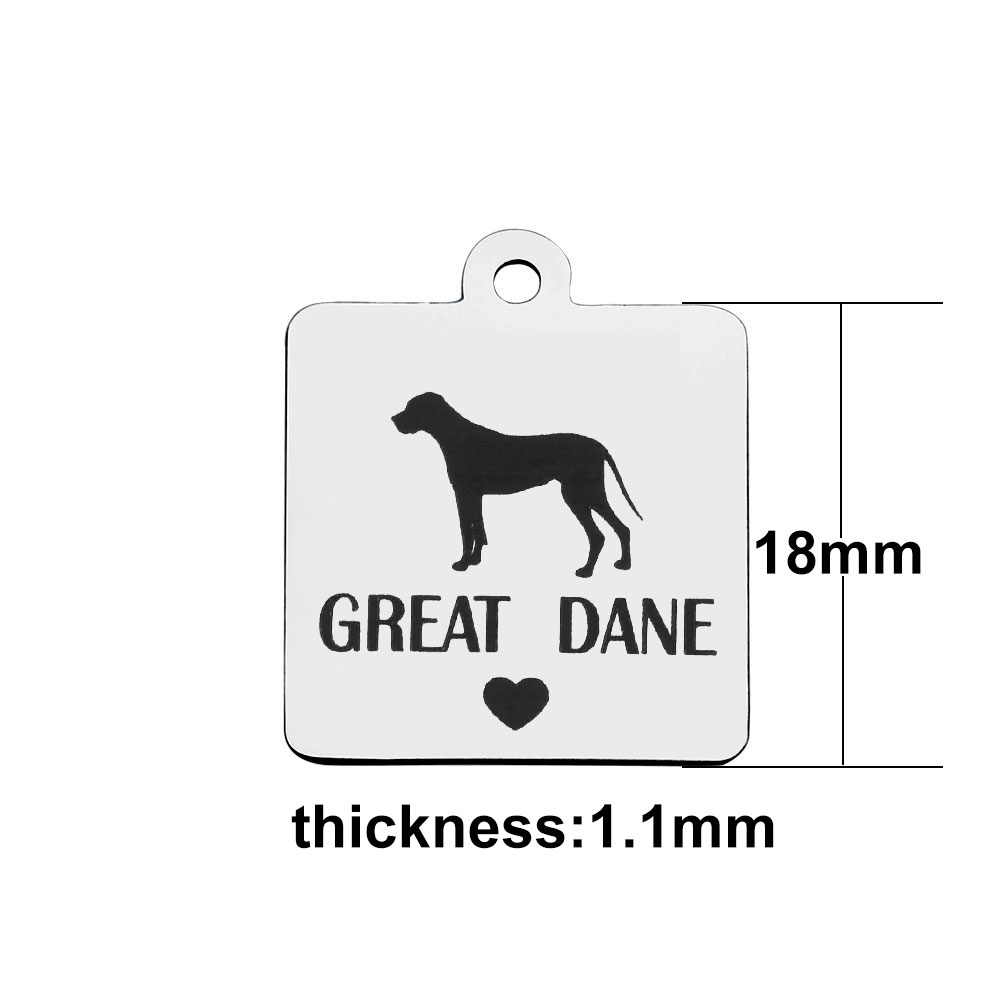 18*21mm Medium Stainless Steel Charm - GREAT DANE