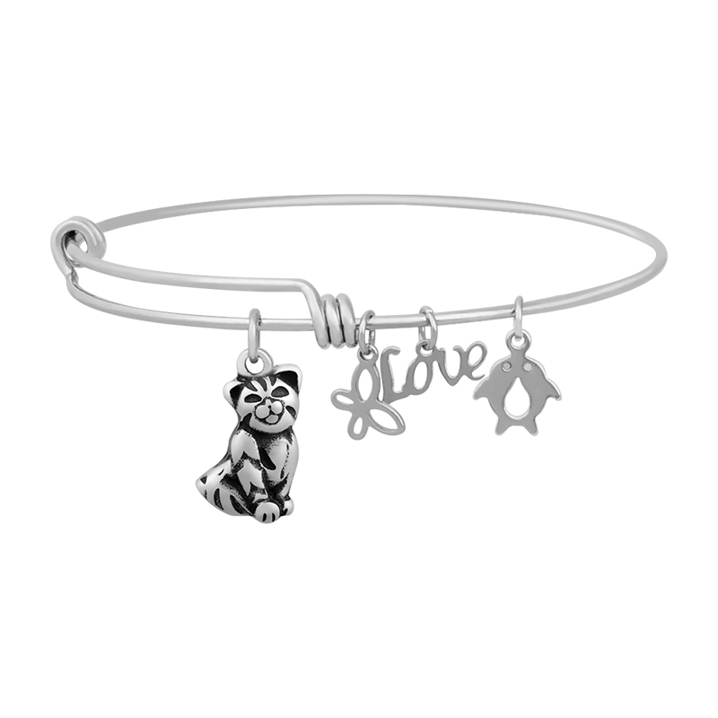 Stainless Expandable Wire Bangle 60mm - Cat Charm Medium