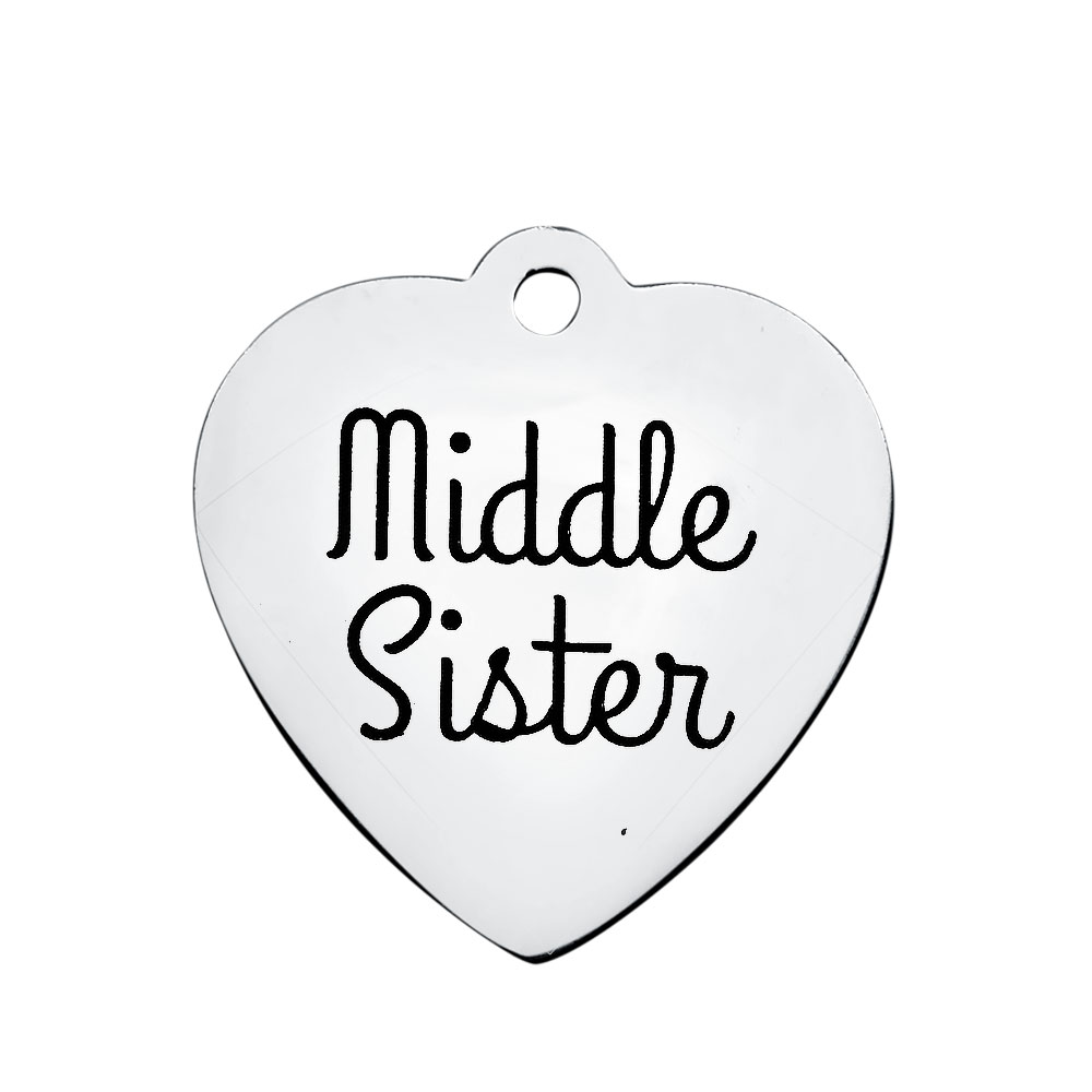 20.2*21.2mm Medium Stainless Steel Charm - Middle Sister