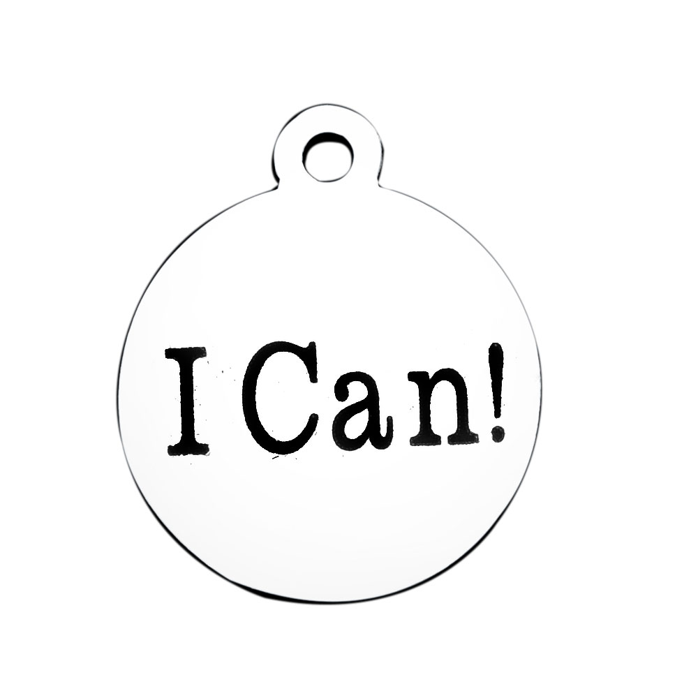12*14.5mm Small Stainless Steel Charm - I Can!