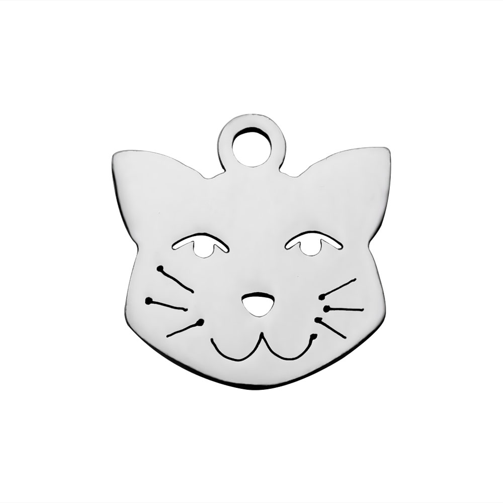 12*12mm Small Stainless Steel Charm - Cat