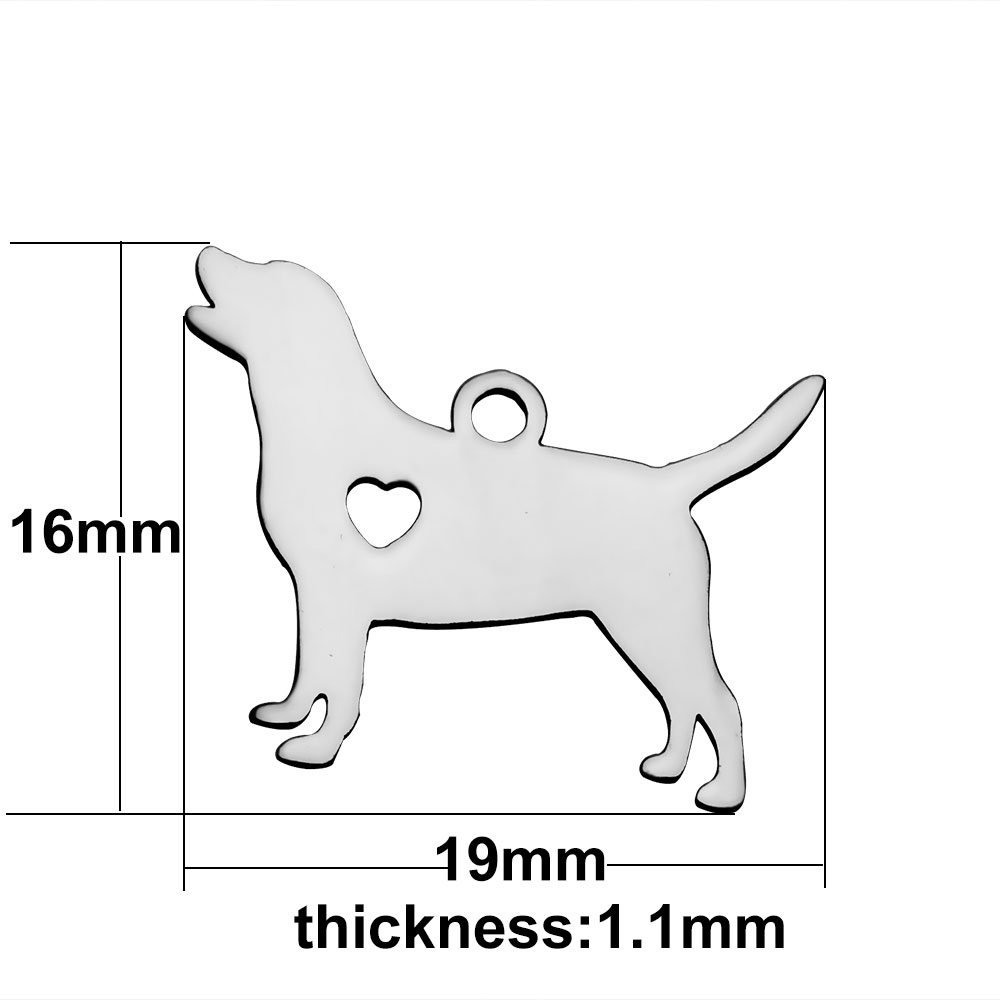 16*19mm Small Stainless Steel Charm - DOG LOVER