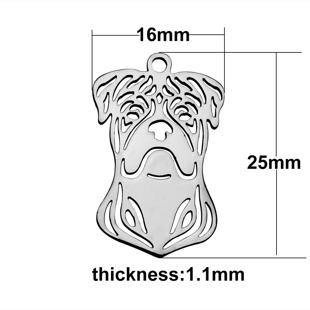 16*25mm Medium Stainless Steel Charm - BULL DOG