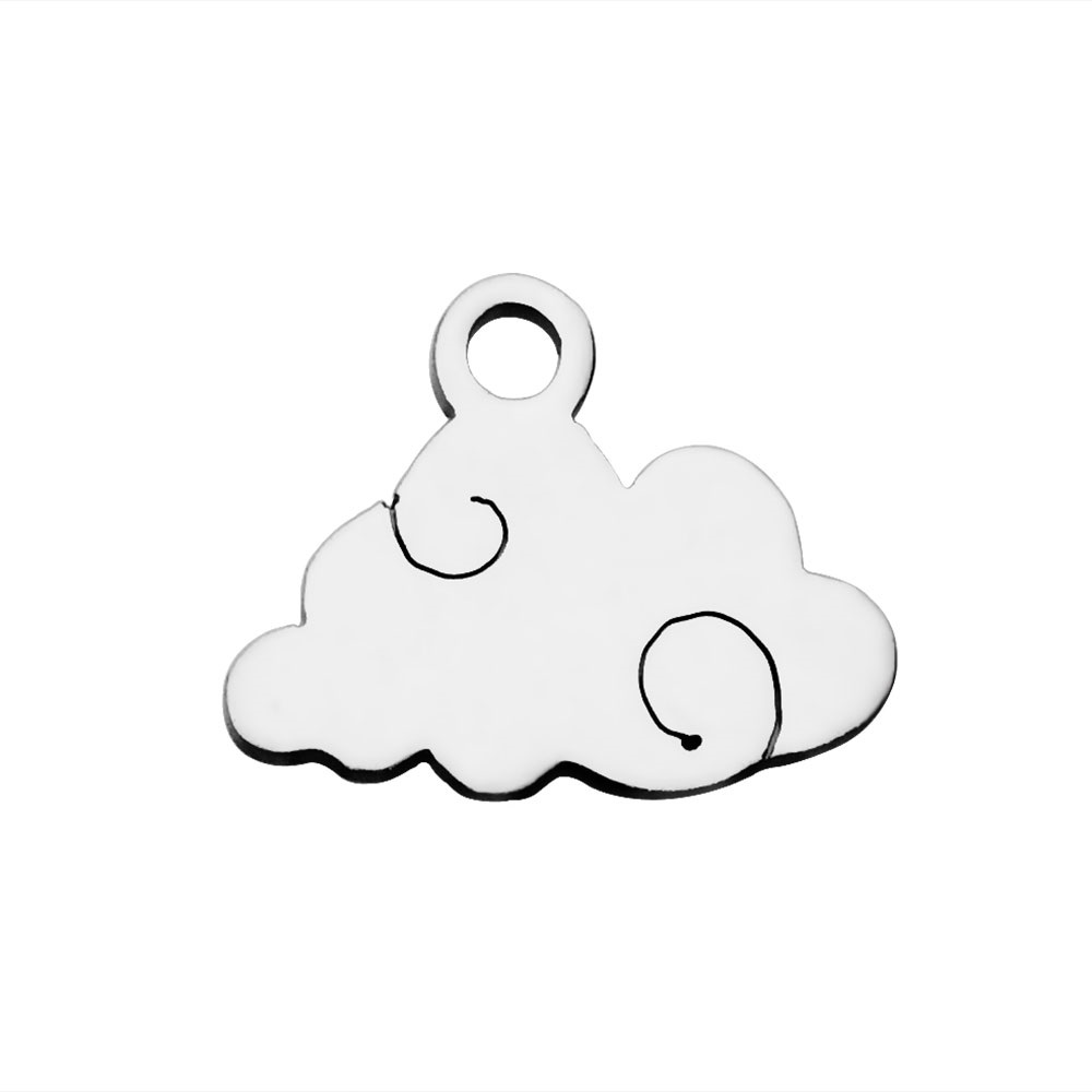 09*12mm Small Stainless Steel Charm - Cloud