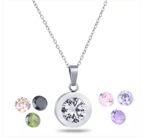 Interchangeable Jewelry Zircon CZ Gem Stones Pendant Stainless