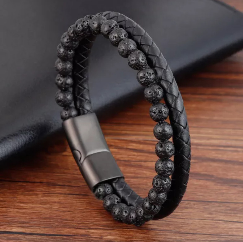 Volcanic Natural Stone Bracelet Leather Magnetic Stainless Steel