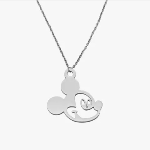 "Stainless Mickey Mouse Pendant Necklace 18"" Disney Silver Plated"