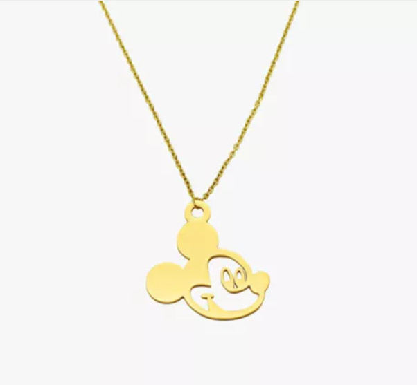 "Stainless Mickey Mouse Pendant Necklace 18"" Disney Gold Plated"