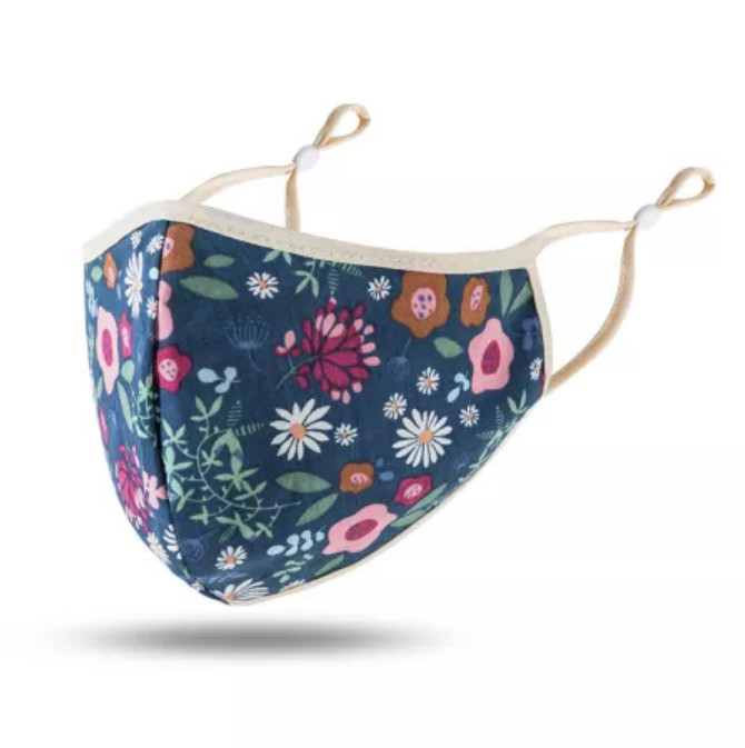 Cloth Mask Cover Dark Blue Flowers with Adjustable Ear Buckle
