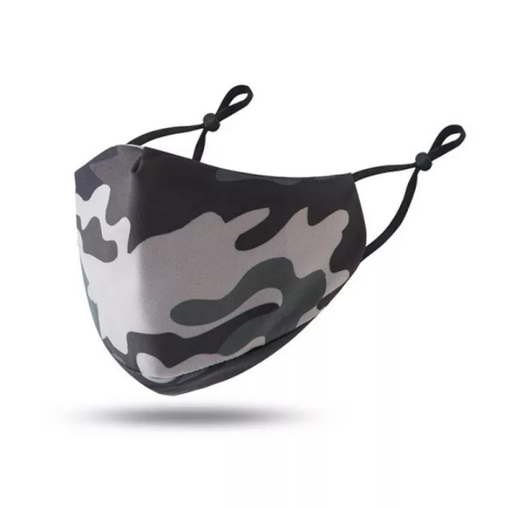 Cloth Mask Camouflage Grey Adjustable Ear Buckle Filter Pocket