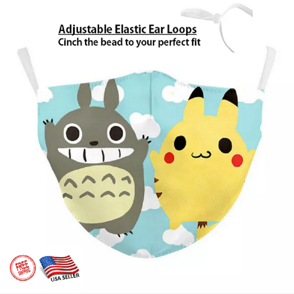 3D CHILD'S POKEMON & PIKACHU Face Mask Ear Loops Washable W/SLOT