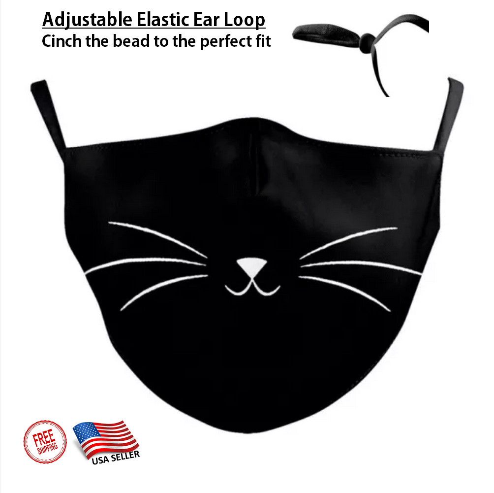 3D CHILD'S KITTY CAT Face Mask Ear Loops Washable W/SLOT