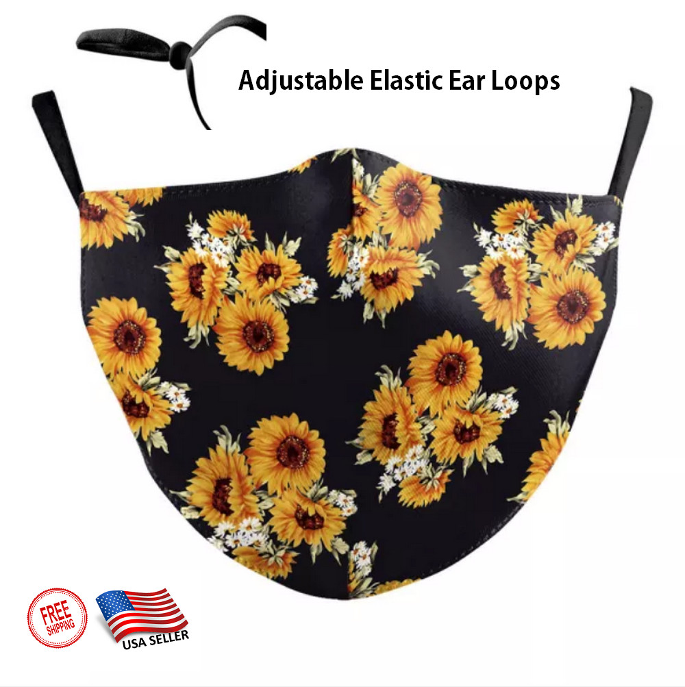 3D SUN FLOWER Face Mask adjustable Ear Loops Washable W/SLOT