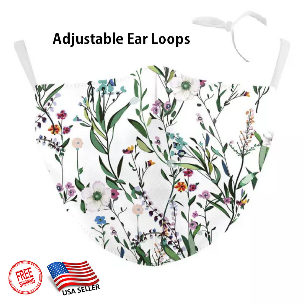 3D FLORAL PATTERN Face Mask adjustable Ear Loops Washable W/SLOT