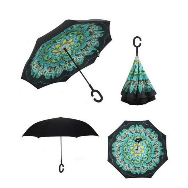 Peacock Reversible Umbrella C Handle Inside Out Inverted