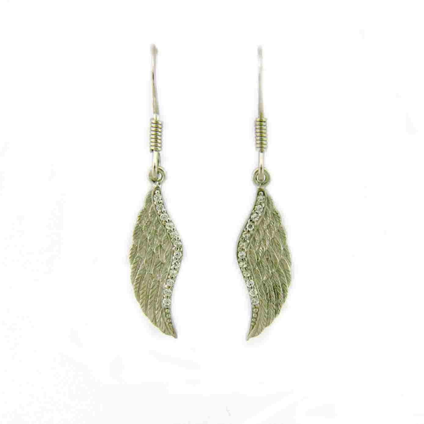 925 - Sterling - Wings with Half CZ Border Hook Earrings