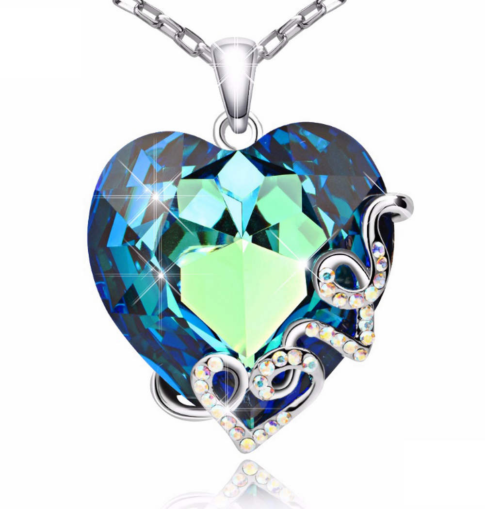 925 Sterling Love Swarovski Crystal Blue Heart Necklace