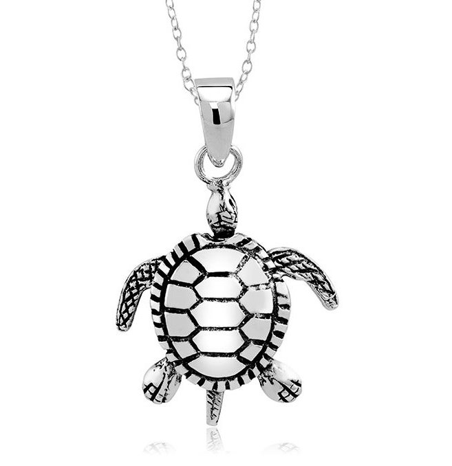 925 - Sterling - Turtle Big Movable Pendant