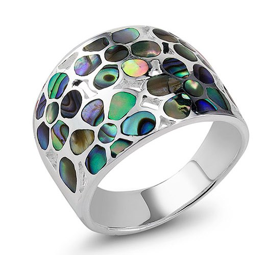 925 - Sterling - Abalone Blue Flower Ring - Size 7