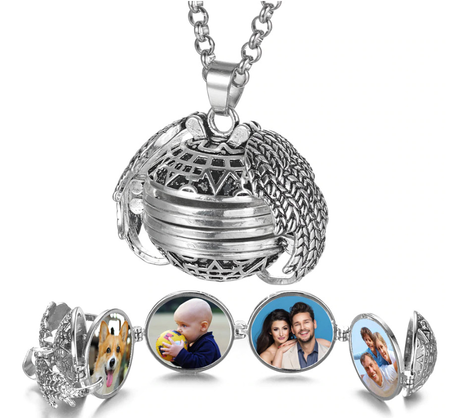 Expanding Four Photos Foldable Locket Necklace - Stainless 20""