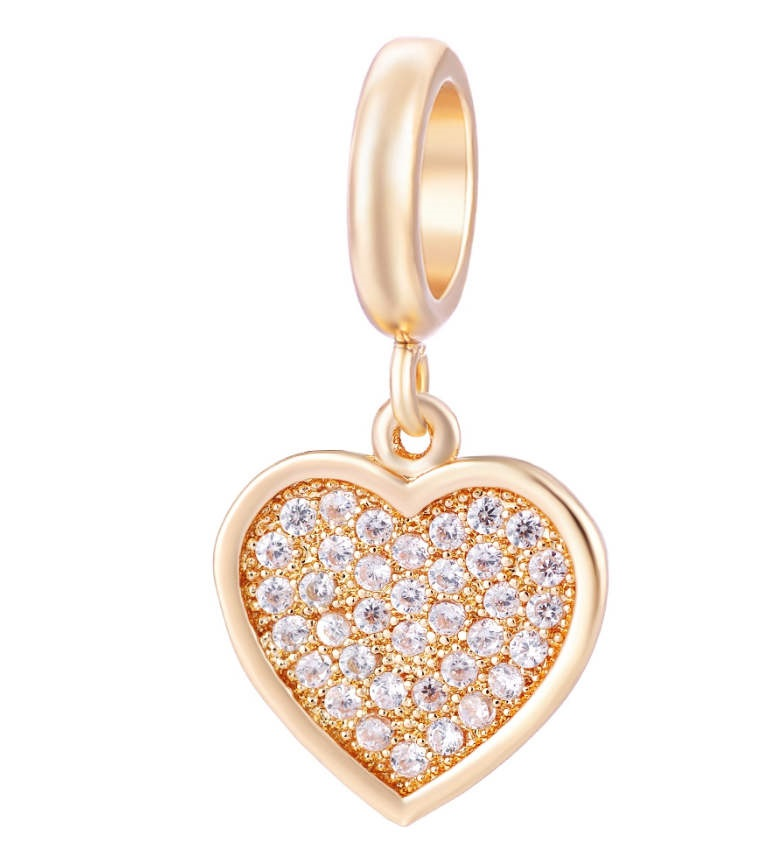 EndLess Charm Drop - CZ Heart Gold