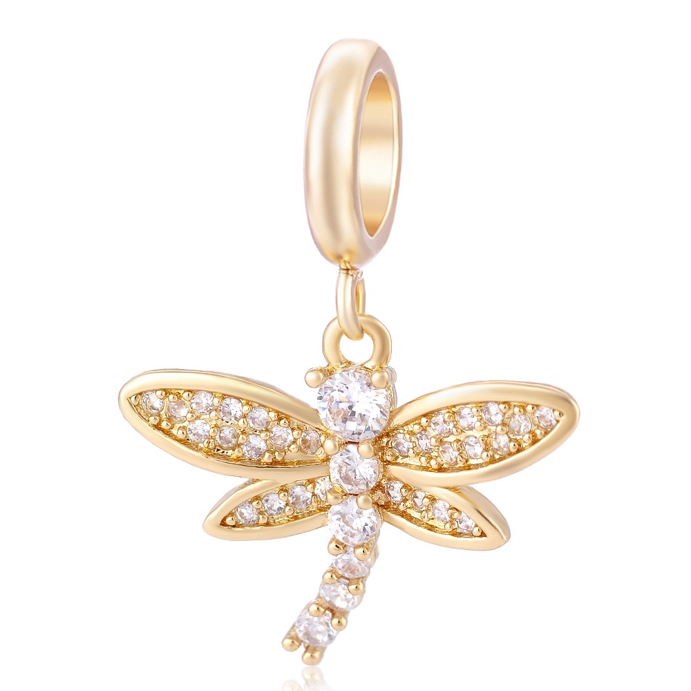 End Less Crystal Charms Drop - Gold Dragonfly Clear