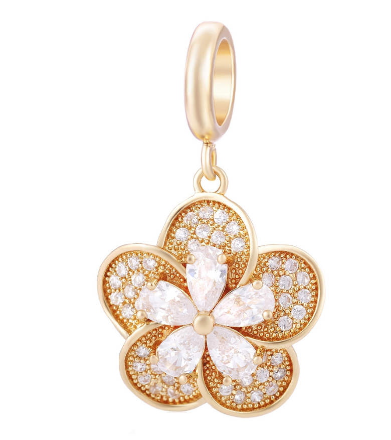 EndLess Charm Drop - CZ Flower Gold