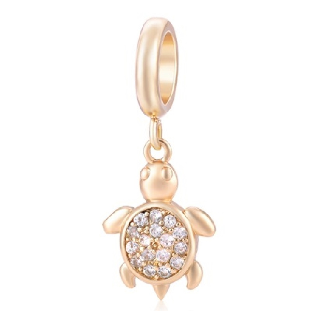 End Less Crystal Charms Drop - Turtle Gold w/ Clear Stones