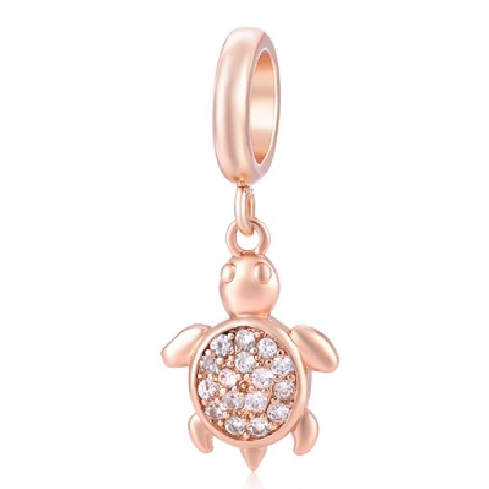 End Less Crystal Charms Drop - Turtle Rose Gold w/ Clear Stones