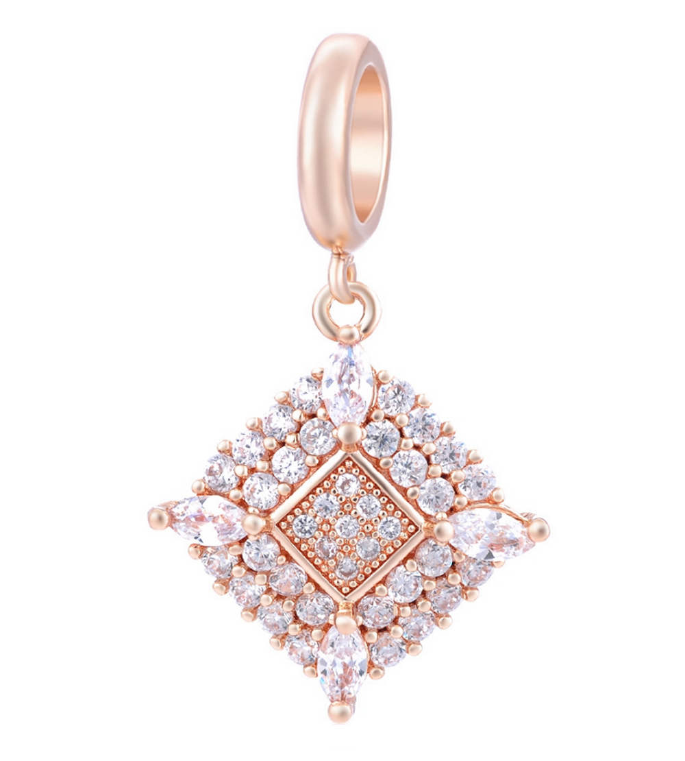 EndLess Charm Drop - CZ Marquise Corners Rose Gold