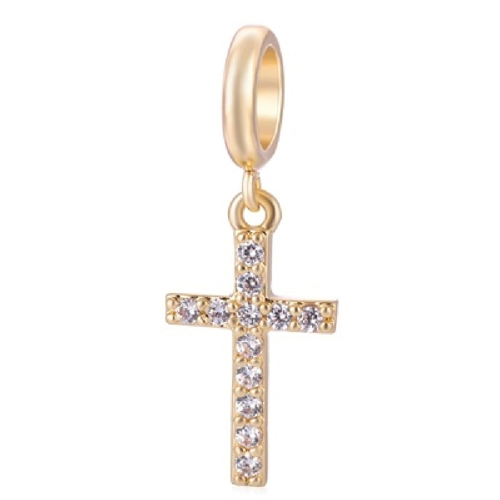 End Less Crystal Charms Drop - Gold Cross Clear