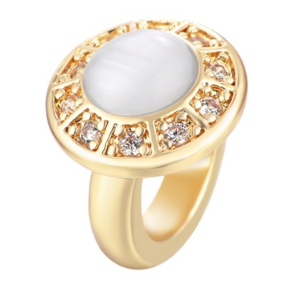End Less Charms - Ring Style Gold w/ White Cat's Eye