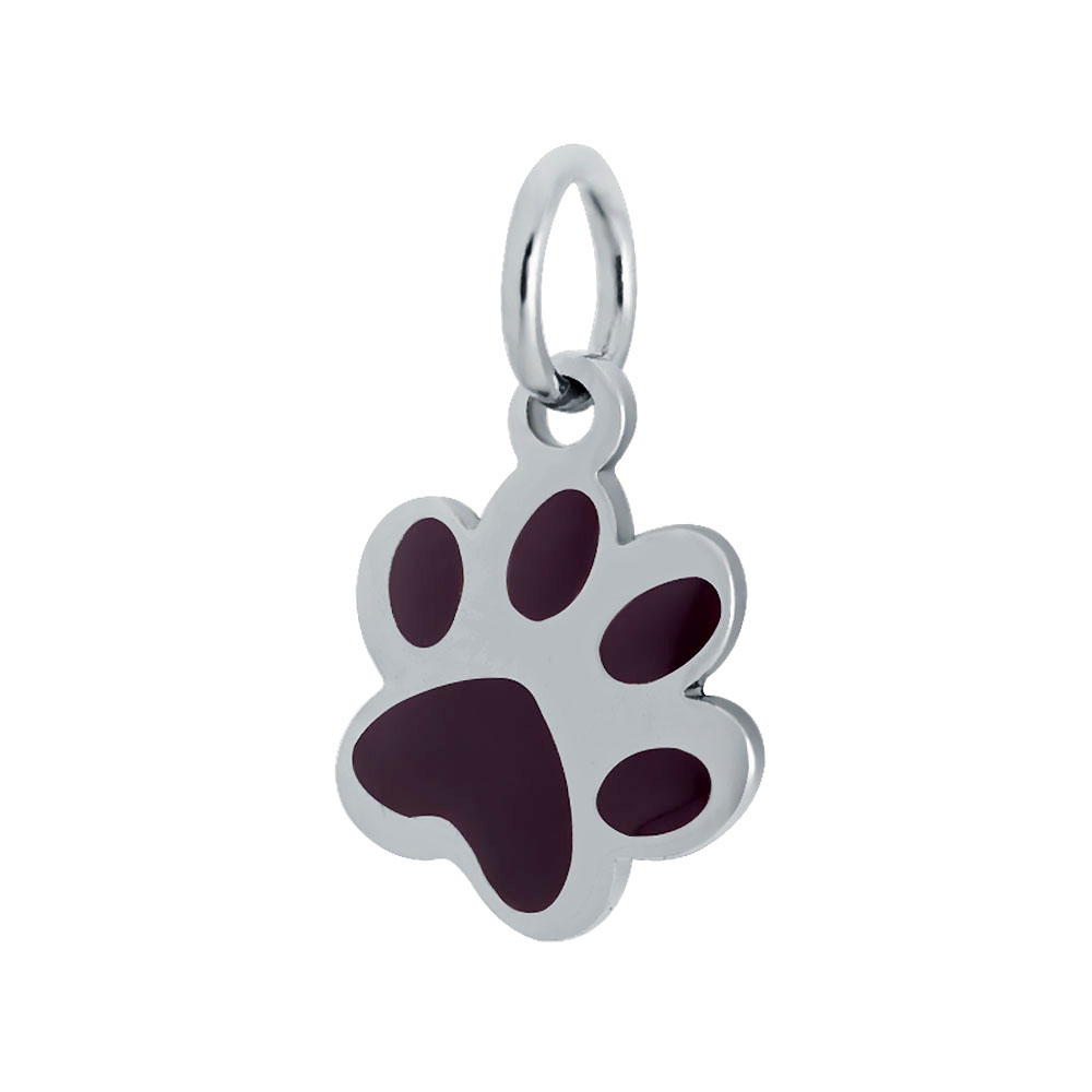 12*20mm Small Stainless Steel Charm - Paw Print Dog Brown