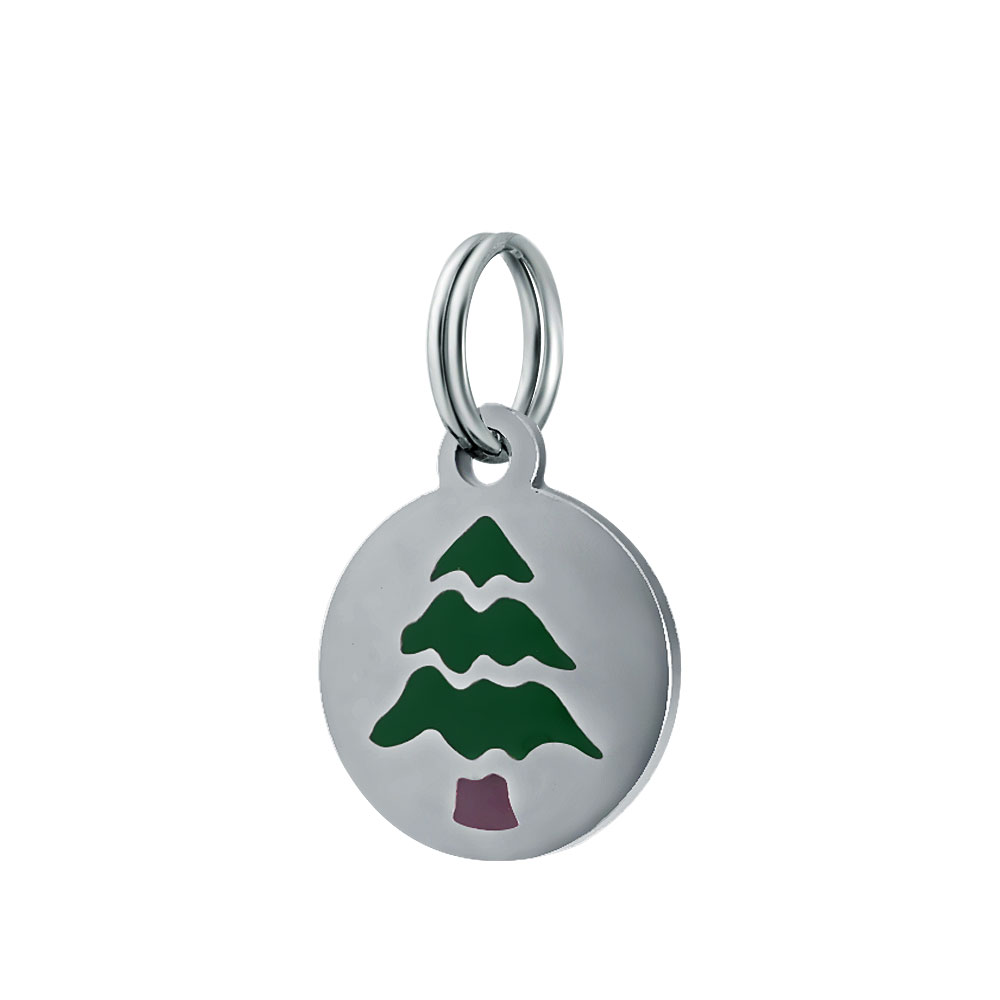 12mm Small Stainless Round Charm - Christmas Tree Enamel