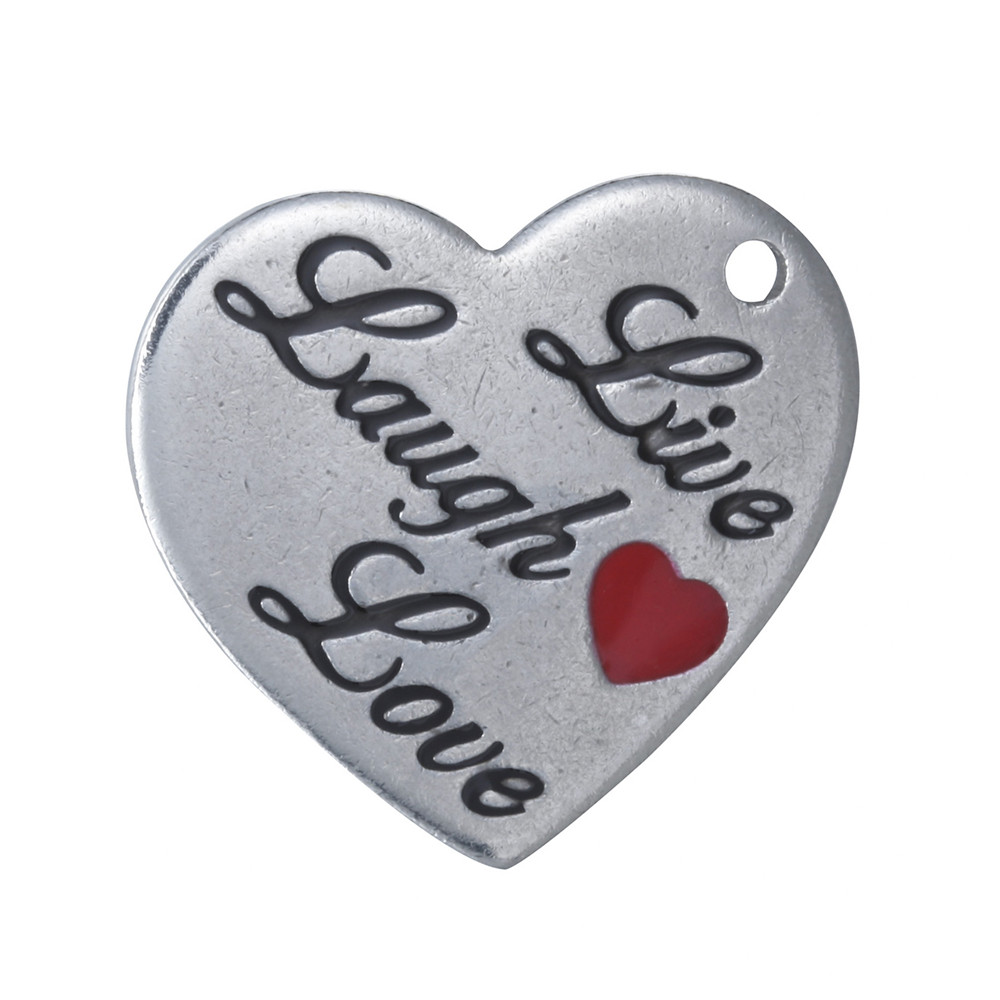 19.5*21 Stainless Steel Charm - Live, Laugh & Love Heart