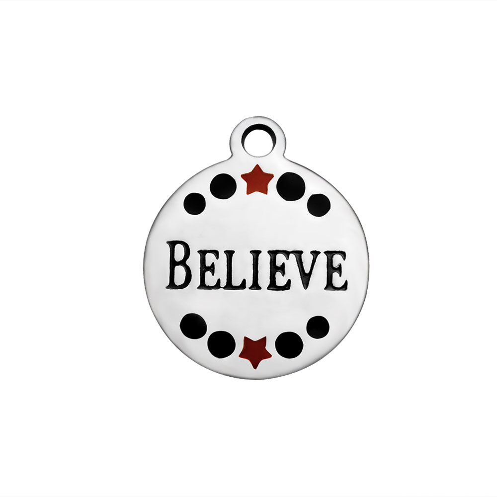 Small Stainless Steel Charm 12mm - Believe