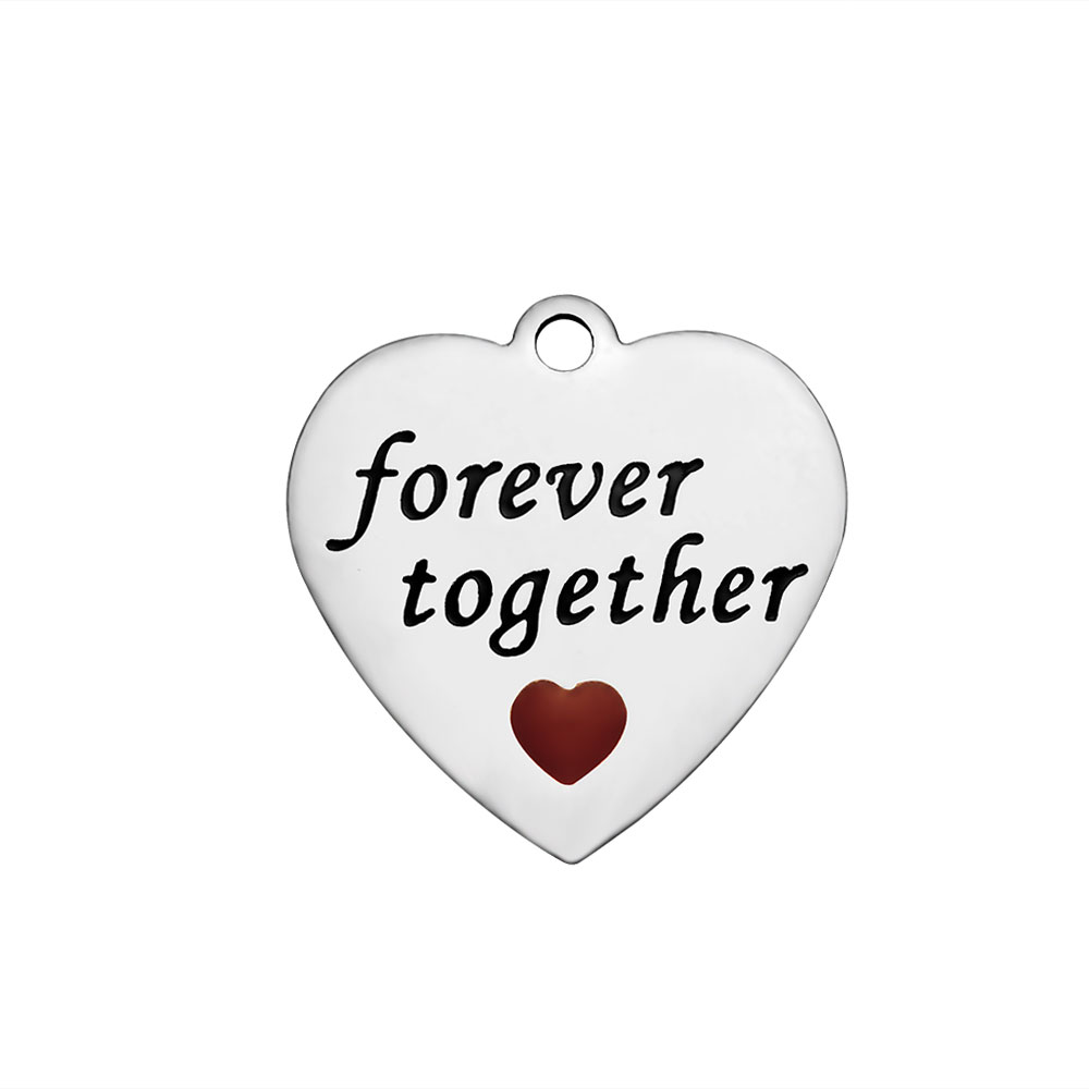 22*22.5mm Stainless Steel Charms - Forever Together Red Heart