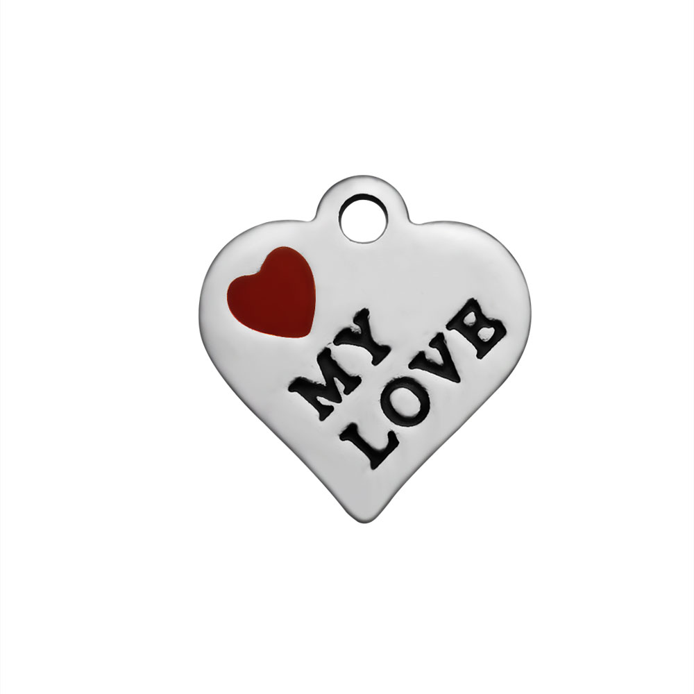 12*13 Stainless Steel Charm - My Love Red Heart